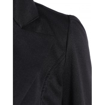 Asymmetric Lapel Single Breasted Blazer - BLACK XL