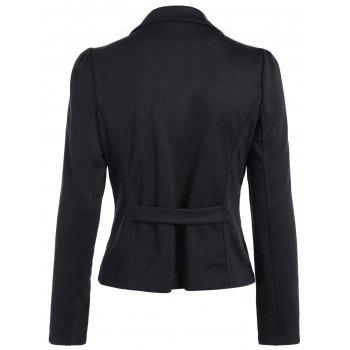 Asymmetric Lapel Single Breasted Blazer - BLACK M