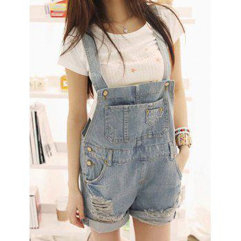 Pockets Distressed Denim Overalls