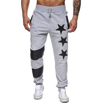 Star Printed Splicing Drawstring Waist Jogger Pants