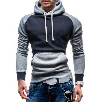 Raglan Sleeve Kangaroo Pocket Color Block Hoodie