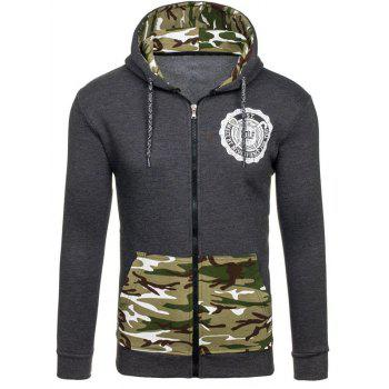 Logo Printed Zipper-Up Camouflage Hoodie