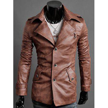 Slim-Fit Epaulet Design Notched Collar PU Jacket