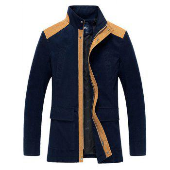 Color Splicing Stand Collar Zip-Up Jacket