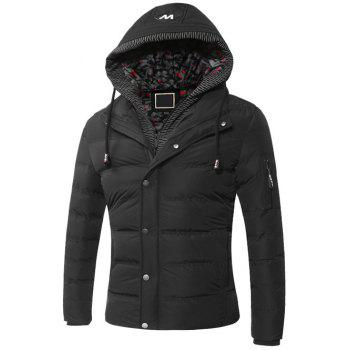 Hooded Faux Twinset Zipper Quilted Jacket