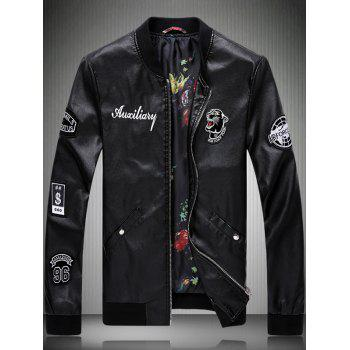 Buy Zipper Fly Embroidery Faux Leather Jacket BLACK
