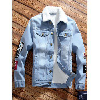 Turn-Down Collar Fleece Lined Denim Jacket