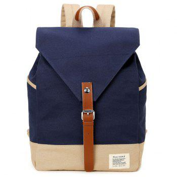 Canvas Buckle Strap Color Block Backpack