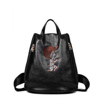 Zippers PU Leather Embroidery Backpack