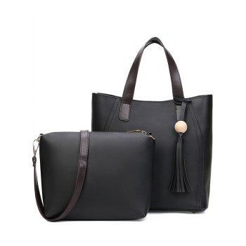 Stitching Tassels Colour Spliced Tote Bag