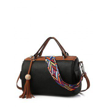 Colour Spliced Textured Leather Tassels Tote Bag