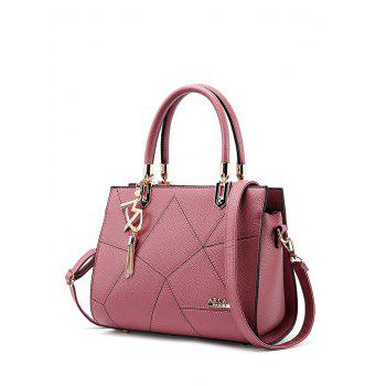 Metal Stitching Textured Leather Tote Bag