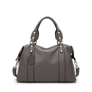 Buy Zipper Metal Textured Leather Tote Bag DEEP GRAY