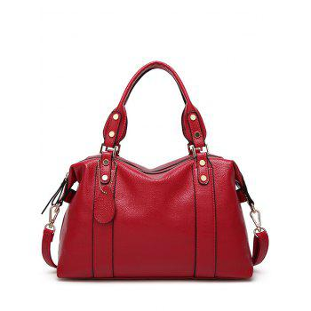 Buy Zipper Metal Textured Leather Tote Bag RED