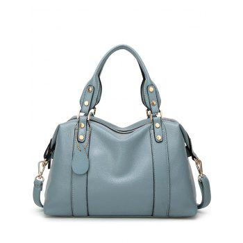 Zipper Metal Textured Leather Tote Bag