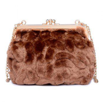 Faux Fur Metal Trimmed Evening Bag - COFFEE COFFEE