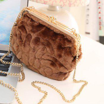 Faux Fur Metal Trimmed Evening Bag -  COFFEE