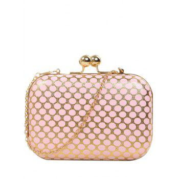 Metal Kiss Lock Polka Dot Evening Bag - PINK PINK