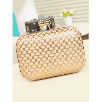 Metal Kiss Lock Polka Dot Evening Bag -  GOLDEN