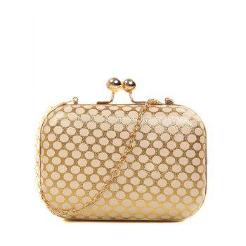 Metal Kiss Lock Polka Dot Evening Bag - GOLDEN GOLDEN