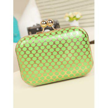 Metal Kiss Lock Polka Dot Evening Bag -  GREEN