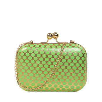 Metal Kiss Lock Polka Dot Evening Bag - GREEN GREEN