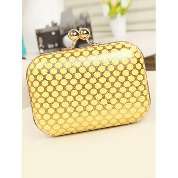Metal Kiss Lock Polka Dot Evening Bag -  YELLOW