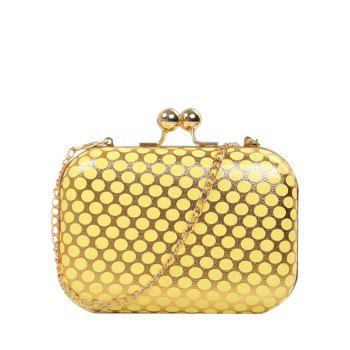 Metal Kiss Lock Polka Dot Evening Bag - YELLOW YELLOW