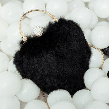 Heart Shape Metal Faux Fur Evening Bag