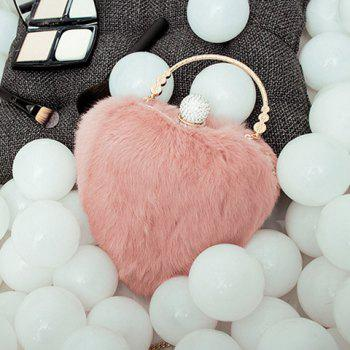 Heart Shape Metal Faux Fur Evening Bag -  PINKBEIGE