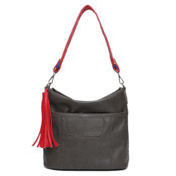 PU Leather Tassel Colored Strap Shoulder Bag