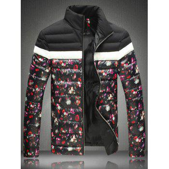 Zip-Up Stand Floral Print Collar Padded Jacket - BLACK BLACK