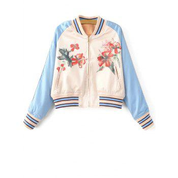 Floral Print Zipped Bomber Jacket