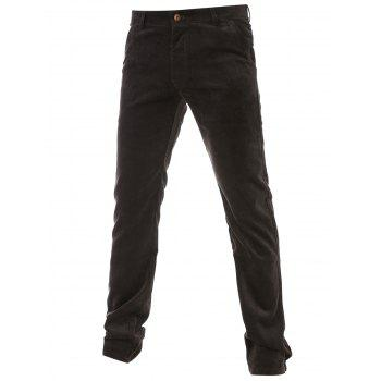 Zipper Fly Flocking Lining Plain Corduroy Pants