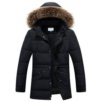 Furry Hood Zip-Up Selvedge Embellished Padded Coat