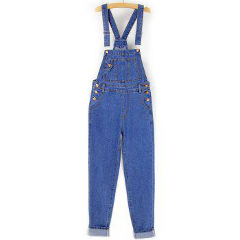 Front Pocket Loose  Denim Overalls