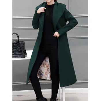Wool Blend Maxi Long Wrap Shawl Collar Belted Coat