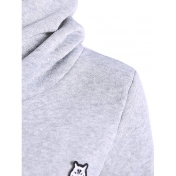 Hoodie Casual Patched - Gris Clair M