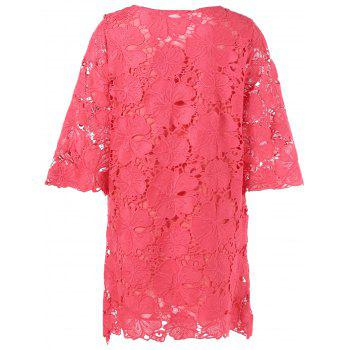Lace Sheer Floral Overlay Robe droite - Rouge M