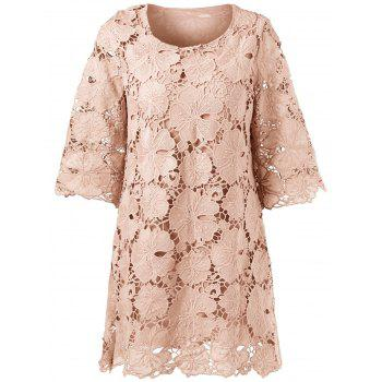 Buy Sheer Lace Floral Overlay Shift Dress APRICOT