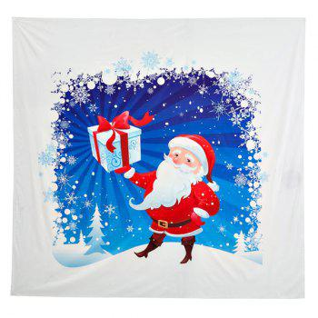 Christmas Santa Claus Distributed Gifts Square Beach Throw - WHITE WHITE