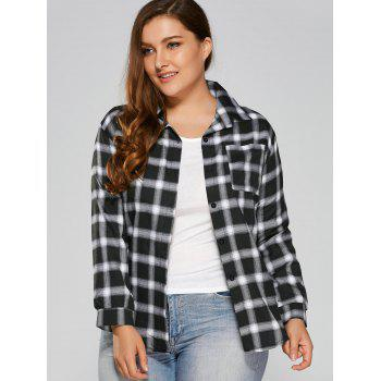 Buy Checked Plus Size Shirt BLACK