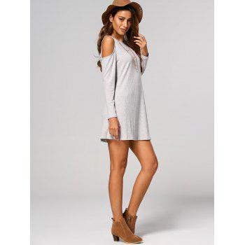Cut Out Ribbed Casual Tunic Jumper Dress - LIGHT GRAY L