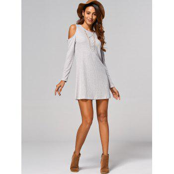 Cut Out Ribbed Casual Tunic Jumper Dress - LIGHT GRAY S