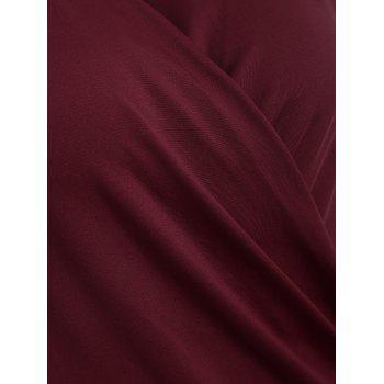 Surplice Stretchy Slimming T-Shirt - WINE RED WINE RED