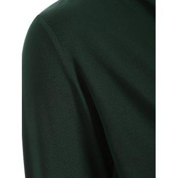 Surplice Stretchy Slimming T-Shirt - BLACKISH GREEN BLACKISH GREEN
