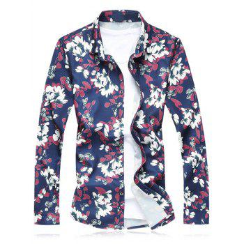 Plus Size Flower Leaves Printed Long Sleeve Shirt