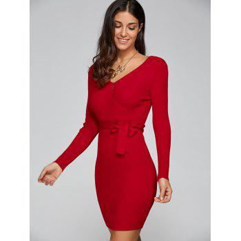 V Neck Knit Long Sleeved Surplice Dress