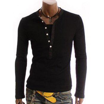 V-Neck Long Sleeve Half Button Embellished T-Shirt - BLACK BLACK