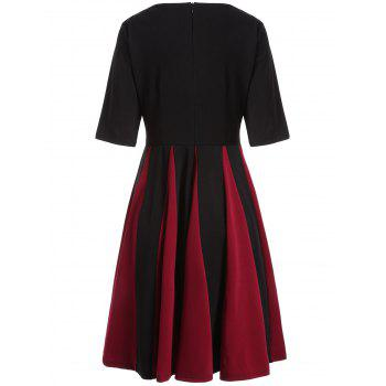 Color Block Fit and Flare Pleated Dress - BLACK BLACK
